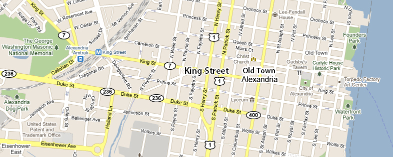 Map of King Street Old Town Alexandria